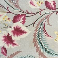 Gray Plum Floral Print Vintage Barkcloth Fabric 50's MCM Fabric Upholstery 2YDS