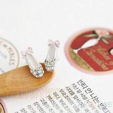 Lovely Ballet Shoes/ Bowknot Silver Stud Earrings W/ Rhinestones/ U.S Seller!