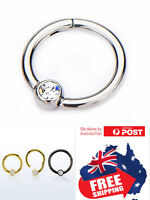 316L Hinged Segment 16g Clicker Ring With CZ Ball Lip Ear Nose Body Piercing 1pc