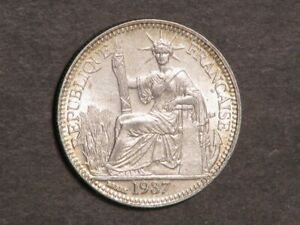 FRENCH INDO-CHINA 1937 10 Cents Silver Unc