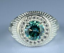 Blue Diamond Solitaire Earthmined Ring 4.05 Ct