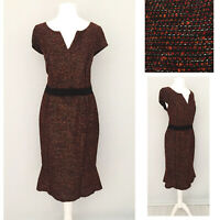 Per Una M&S Dress 12 Boucle Midi Cap Sleeve Black Orange Formal Office Work NEW