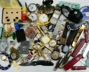 Junk Drawer Lot Vintage to Now Collectibles Knives Lighters Watches Cuff Links