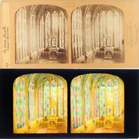 Francia Parigi La Sainte Cappella Interno Foto Stereo Diorama Albumina Ca 1860