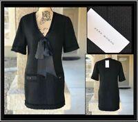 ZARA WOMEN BLACK TWEED DRESS WITH BOW Sz XS BNWT