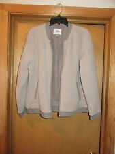 Old Navy Gray lined Sherpa Jackets size L,M, 100% polyester Full Zip 2 side pock