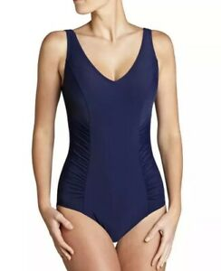 John Lewis Firm Control Side Ruched Swimsuit Swimming Costume - Navy / UK 12