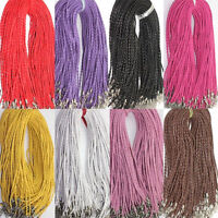 5/10/20/50Pcs Faux Leather Braided Rope Hemp Cord Lobster Clasp Chain Necklace