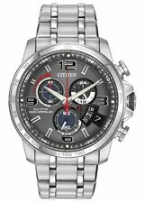 Citizen Eco-Drive Mens BY0100-51H Perpetual Calendar Chrono A-T Silver Watch New