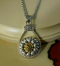 SUNFLOWER metal Snap drop pendant silver necklace gifts for women jewelry