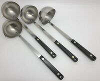 Vintage EKCO & FLINT Stainless Steel Ladles w/ Black Handles; Lot of 4 (RF999)