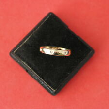 BEAUTIFUL 9CT SOLID YELLOW GOLD WITH 3 DIAMONDS RING SIZE O  IN GIFT BOX