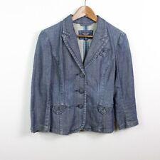 American Eagle Outfitters Women's Denim Jacket Button Blazer Blue 3/4 Sleeve M
