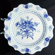 Vintage Decorative Blue & White Floral Ceramic Wall Hanging Plate Scalloped Edge