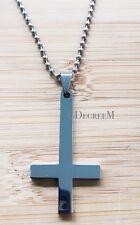 361L Stainless Steel Upside Down Cross Men Women Pendant w Long Chain Necklace