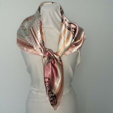"""Satin horse scarf equestrian theme 35"""" square pink mauve taupe soft travel"""