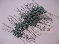 Lot of 50 Metal Oxide Flameproof Resistors 15 Ohm 2 Watt 5%  - NOS