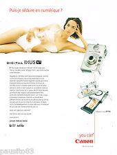 PUBLICITE ADVERTISING 065  2002  CANON   appareil photo  DIGITAL IXUS V2