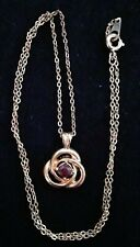 Floral Shape with Ruby Stone & 18 Inch Goldtone Metal Chain Necklace Unbranded