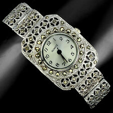 Sterling Silver 925 Antique Design Champagne Swiss Marcasite Watch 7.5 Inches