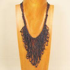 Bohemian Flapper Style Handmade Hematite Stone Chip Seed Bead Necklace