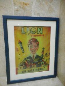 Lion Fireworks Picture Frame 27cm x 22cm Medium Vintage