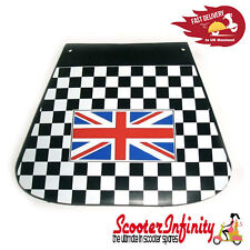 Mudflap Black & White Check Chequered Union Jack (Universal Fit) VESPA LAMBRETTA