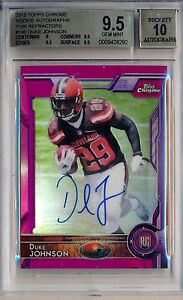 DUKE JOHNSON = 2015 Chrome Rookie Pink Refractor AUTO /75  BGS 9.5/10 Browns