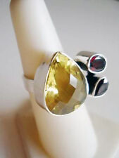 Sterling Silver Massive Citrine & Garnet Ring Size 7.5