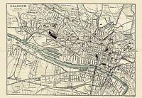 MAP REPRO ANTIQUE BARTHOLEMEW GLASGOW CITY SCOTLAND LARGE ART PRINT LF877