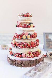 "16"" (40cm)  Rustic Log slice, Wooden Wedding cake stand, centerpiece"