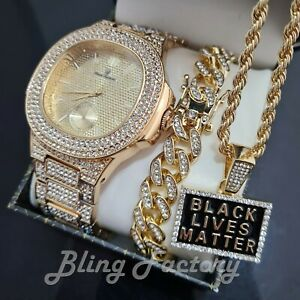 MEN HIP HOP GOLD PT WATCH & ICED CUBAN BRACELET & BLACK LIVES MATTER NECKLACE