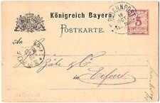 Ganzsache Königlich Bayerische Bahnpost 1886 Bayreuth