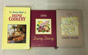 3x Books Dairy Diary 1994 & 1993 - The Dairy Book of Home Cookery (Hardback)