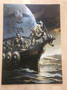 FRANK FRAZETTA Kane On The Golden Sea FANTASY Litho PRINT 17 X23 Vintage #99