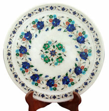 Marble Plate Inlay Pietra Dura Lapis Floral Handmade Home Decor And Gifts