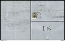 J) 1875 MEXICO, 10 CENTS BLACK, COMPLETE LETTER, ON THE BACK WE BELIEVE A CONTRO