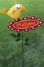 Garden Lawn Yard Decoration Whimsically Styled Yellow Bird Welcome Sign NEW 42""