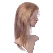 100% remy indian human hair lace front full wig silky straight  honey blond #27