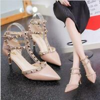 New Women Shoes Rivet Studded Bars Pointed Toe Pumps Court Party Wedding Sandals