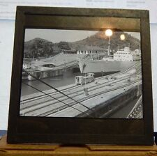 Antique Glass slide Merchant Ship S.S Brunswick Going through Panama Canal 1927