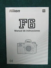 Nikon F6 Manual de Instrucciones Instruction Manual En Espanol In Spanish