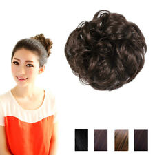 Fashion Drawstring Wavy Curly Buns Clip-In Hair Girls Womens Hairpiece