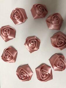 """10 Dusky Pink Handmade 4d  Satin Rose Flowers 2"""",  Bouquet,Corsage,Wedding,Craft"""