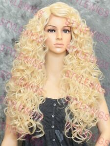 Light Blonde Long Full Spiral Curls Heat OK Lace Front Human Hair Blend Wig STFK