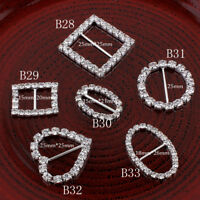 20pcs Bling Rhinestone Buckles Sliders For Clothes Clear Crystal Ribbon Buckles