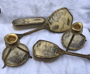 Antique Vintage Art Nouveau Oriental Dressing Table Set Brush Mirror Candlestick