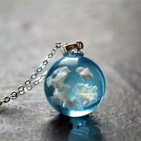 Transparent Resin Ball Blue Sky White Cloud Pendant Necklace Women Chain Fashion