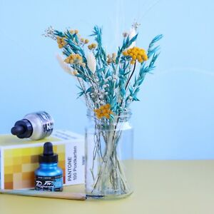 Teal Blue & Mustard Yellow Dried Flower Letterbox Bouquet