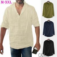 US Men Linen Long Sleeve Shirt Summer Cool Loose Casual V-Neck Shirts Tops M-3XL